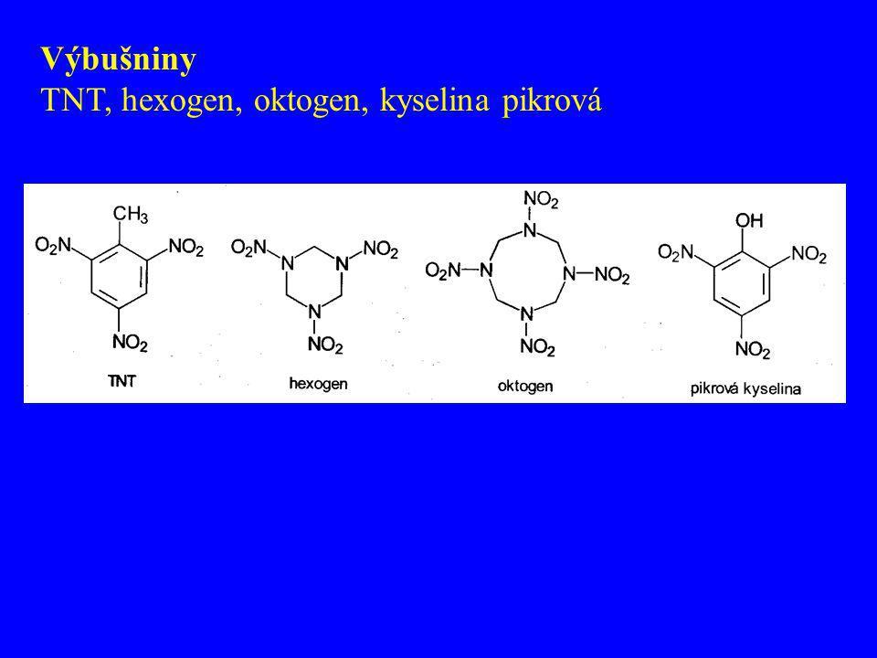 Výbušniny TNT, hexogen, oktogen, kyselina pikrová