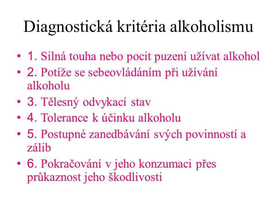 Diagnostická kritéria alkoholismu 1. Silná touha nebo pocit puzení užívat alkohol 2. Potíže se sebeovládáním při užívání alkoholu 3. Tělesný odvykací
