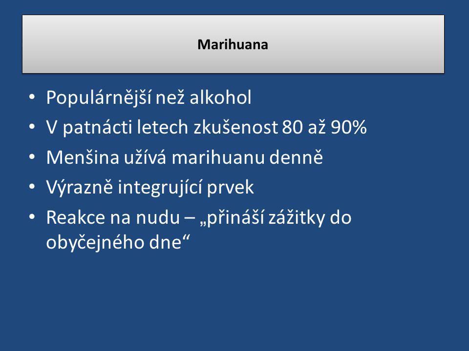 """Populárnější než alkohol V patnácti letech zkušenost 80 až 90% Menšina užívá marihuanu denně Výrazně integrující prvek Reakce na nudu – """" přináší záži"""