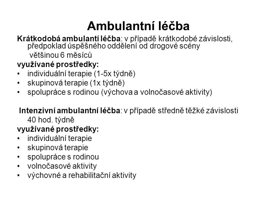 Ambulantní léčba Krátkodobá ambulantí léčba: v případě krátkodobé závislosti, předpoklad úspěšného oddělení od drogové scény většinou 6 měsíců využívané prostředky: individuální terapie (1-5x týdně) skupinová terapie (1x týdně) spolupráce s rodinou (výchova a volnočasové aktivity) Intenzivní ambulantní léčba: v případě středně těžké závislosti 40 hod.