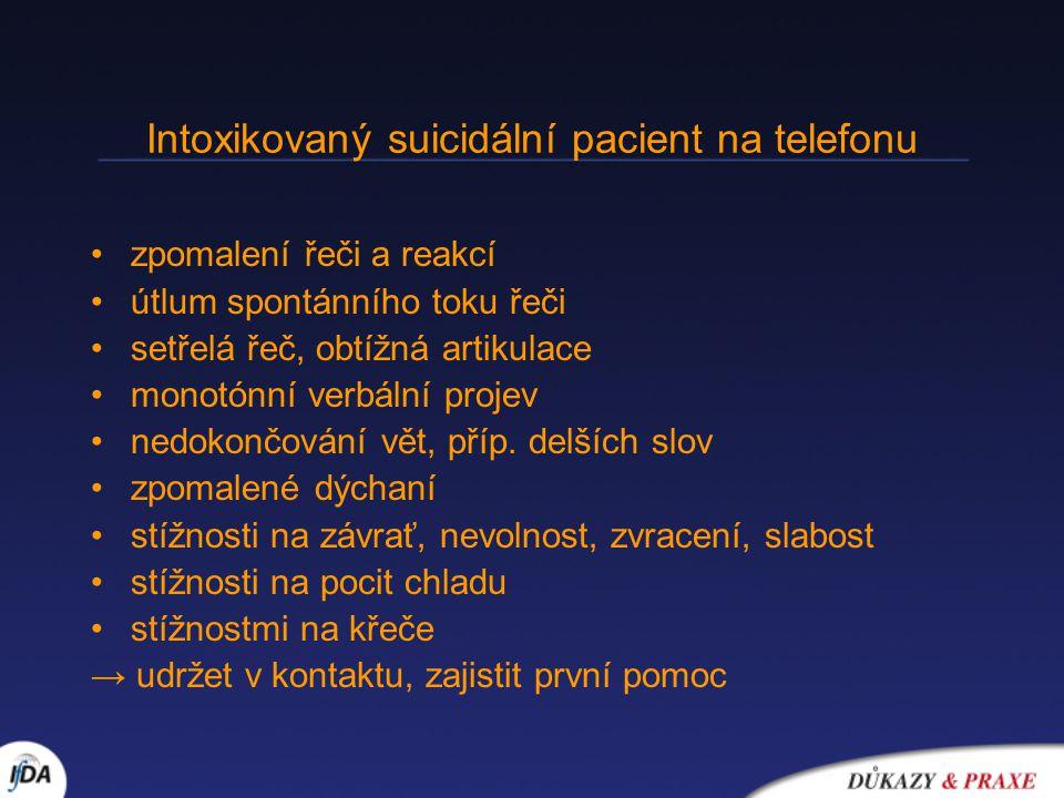 Intoxikovaný suicidální pacient na telefonu zpomalení řeči a reakcí útlum spontánního toku řeči setřelá řeč, obtížná artikulace monotónní verbální projev nedokončování vět, příp.