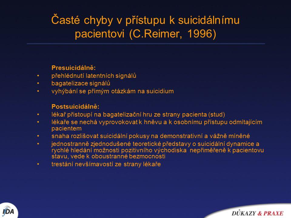 Časté chyby v přístupu k suicidálnímu pacientovi (C.Reimer, 1996) Presuicidálně: přehlédnutí latentních signálů bagatelizace signálů vyhýbání se přímým otázkám na suicidium Postsuicidálně: lékař přistoupí na bagatelizační hru ze strany pacienta (stud) lékaře se nechá vyprovokovat k hněvu a k osobnímu přístupu odmítajícím pacientem snaha rozlišovat suicidální pokusy na demonstrativní a vážně míněné jednostranně zjednodušené teoretické představy o suicidální dynamice a rychlé hledání možnosti pozitivního východiska nepřiměřeně k pacientovu stavu, vede k oboustranné bezmocnosti trestání nevšímavostí ze strany lékaře