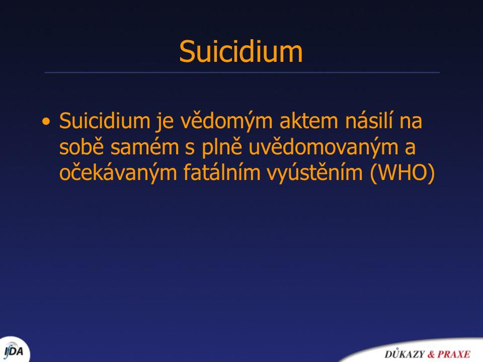Suicidium Suicidium je vědomým aktem násilí na sobě samém s plně uvědomovaným a očekávaným fatálním vyústěním (WHO)