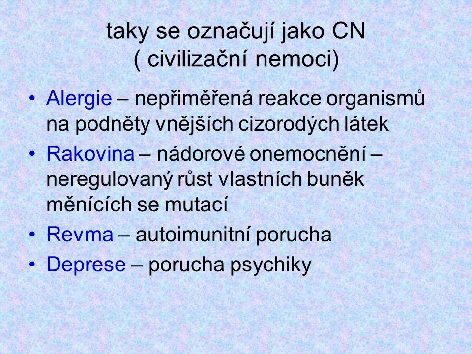 taky se označují jako CN ( civilizační nemoci) Alergie – nepřiměřená reakce organismů na podněty vnějších cizorodých látek Rakovina – nádorové onemocnění – neregulovaný růst vlastních buněk měnících se mutací Revma – autoimunitní porucha Deprese – porucha psychiky