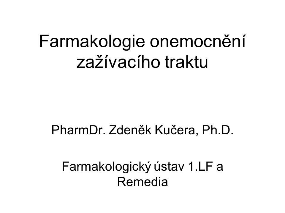 Osnova 1.Léčba následků kyselosti/překyselení žaludku –Antacida –Antiulceróza 2.Prokinetika 3.Laxativa 4.Antidiaroika 5.Antiemetika 6.Spasmolytika 7.