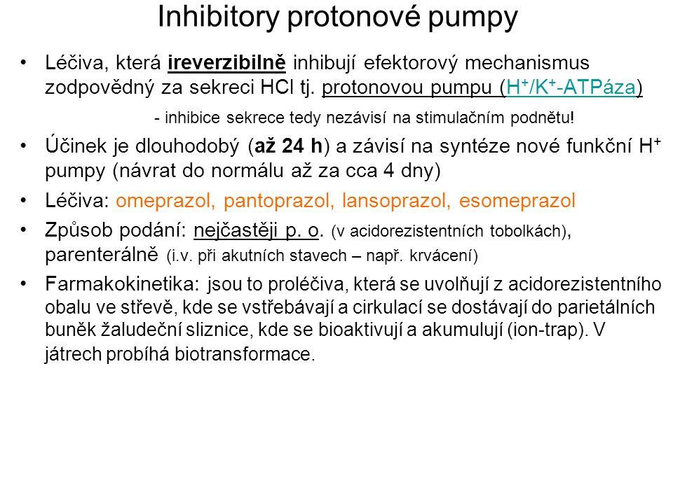 Inhibitory protonové pumpy Léčiva, která ireverzibilně inhibují efektorový mechanismus zodpovědný za sekreci HCl tj. protonovou pumpu (H + /K + -ATPáz
