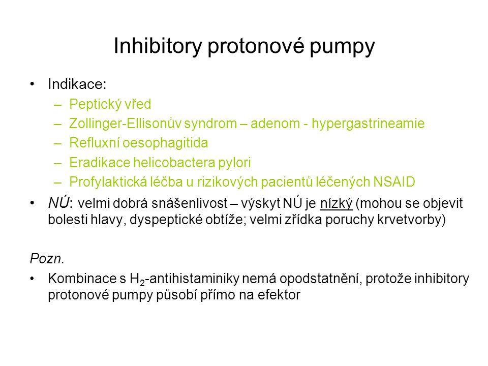 Indikace: –Peptický vřed –Zollinger-Ellisonův syndrom – adenom - hypergastrineamie –Refluxní oesophagitida –Eradikace helicobactera pylori –Profylakti