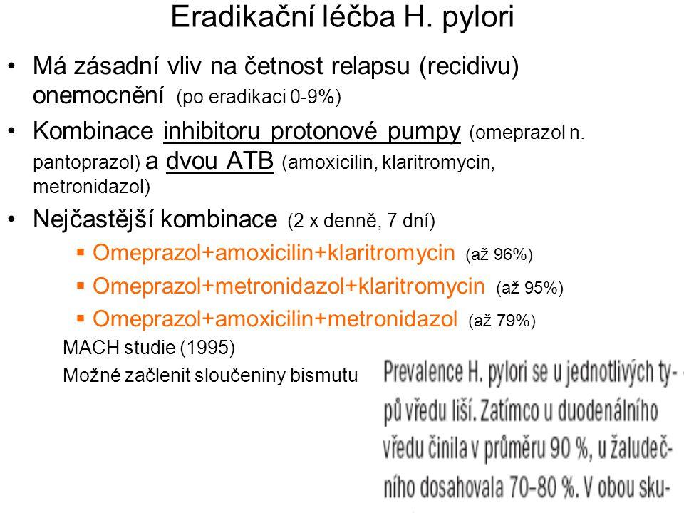 Eradikační léčba H. pylori Má zásadní vliv na četnost relapsu (recidivu) onemocnění (po eradikaci 0-9%) Kombinace inhibitoru protonové pumpy (omeprazo