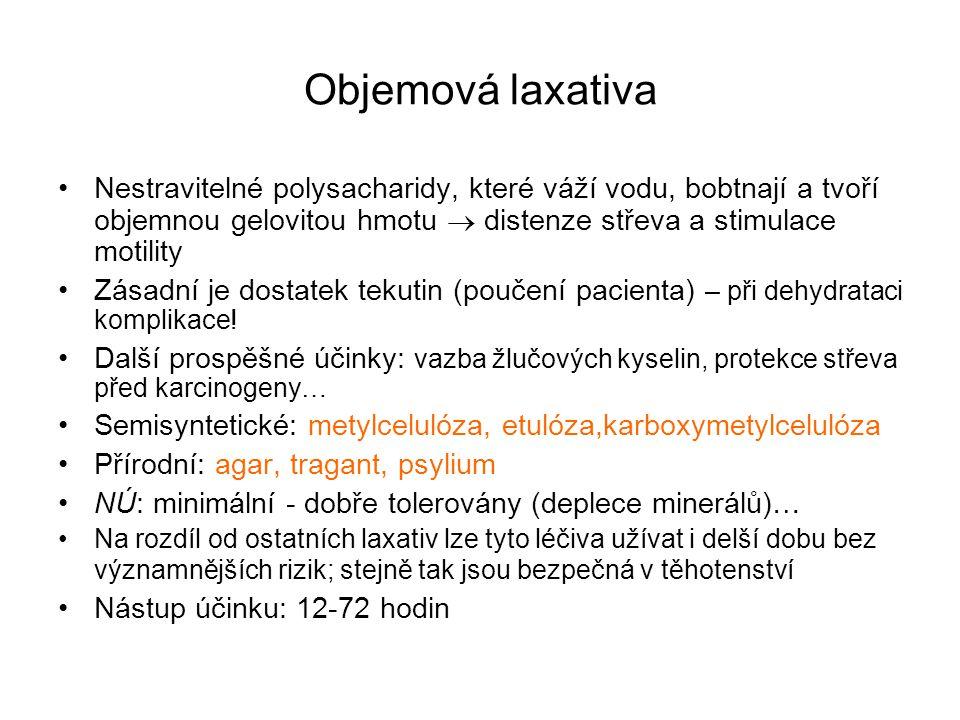 Objemová laxativa Nestravitelné polysacharidy, které váží vodu, bobtnají a tvoří objemnou gelovitou hmotu  distenze střeva a stimulace motility Zásad