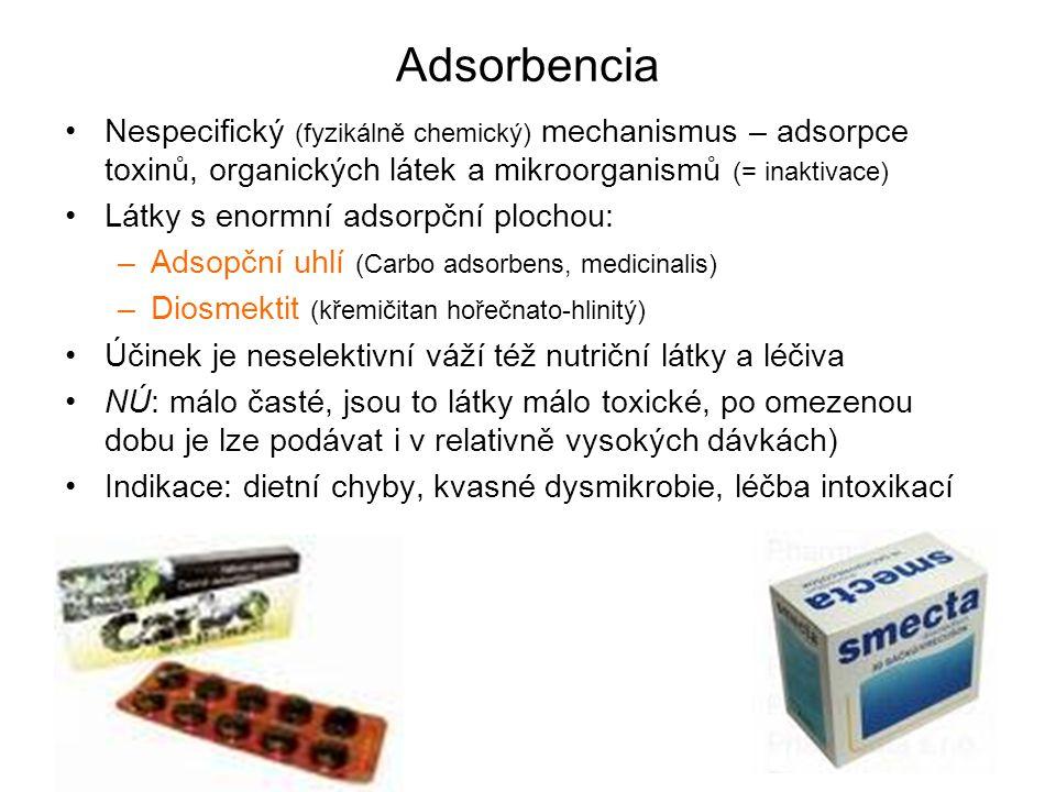 Adsorbencia Nespecifický (fyzikálně chemický) mechanismus – adsorpce toxinů, organických látek a mikroorganismů (= inaktivace) Látky s enormní adsorpč