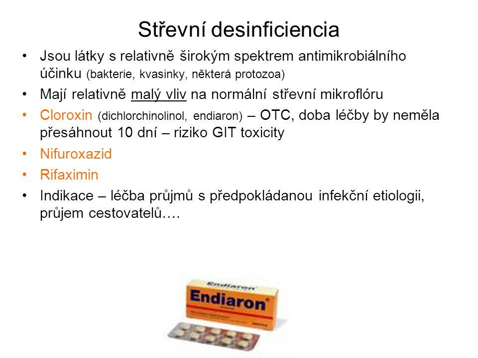 Střevní desinficiencia Jsou látky s relativně širokým spektrem antimikrobiálního účinku (bakterie, kvasinky, některá protozoa) Mají relativně malý vli