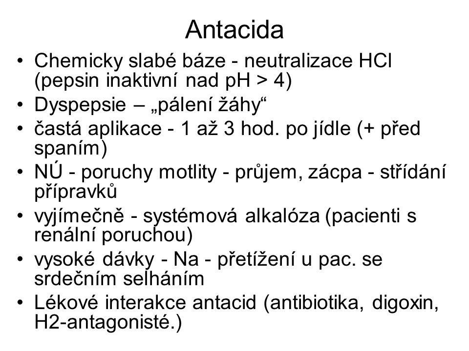 """Antacida Chemicky slabé báze - neutralizace HCl (pepsin inaktivní nad pH > 4) Dyspepsie – """"pálení žáhy"""" častá aplikace - 1 až 3 hod. po jídle (+ před"""