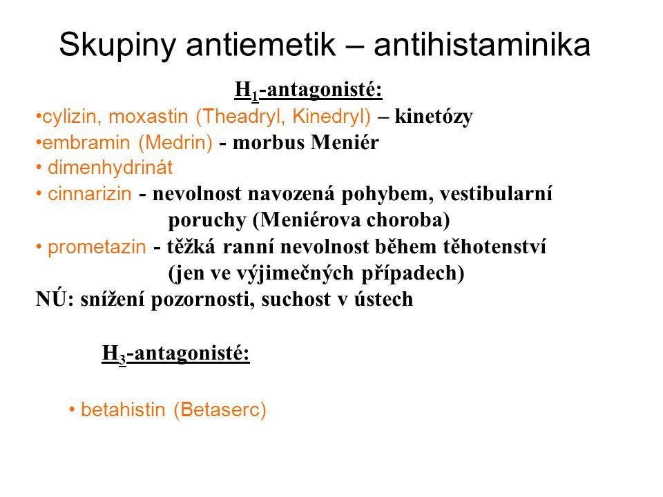 Skupiny antiemetik – antihistaminika H 1 -antagonisté: cylizin, moxastin (Theadryl, Kinedryl) – kinetózy embramin (Medrin) - morbus Meniér dimenhydrin