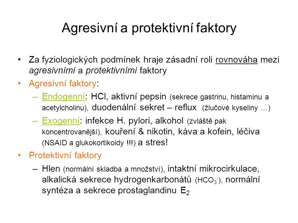 Agresivní a protektivní faktory Za fyziologických podmínek hraje zásadní roli rovnováha mezi agresivními a protektivními faktory Agresivní faktory: –E