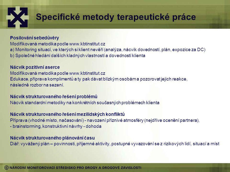 Specifické metody terapeutické práce Posilování sebedůvěry Modifikovaná metodika podle www.kbtinstitut.cz a) Monitoring situací, ve kterých si klient nevěří (analýza, nácvik dovedností, plán, expozice za DC) b) Společné hledání dalších kladných vlastností a dovedností klienta Nácvik pozitivní aserce Modifikovaná metodika podle www.kbtinstitut.cz Edukace, příprava komplimentů a ty pak dávat blízkým osobám a pozorovat jejich reakce, následně rozbor na sezení.