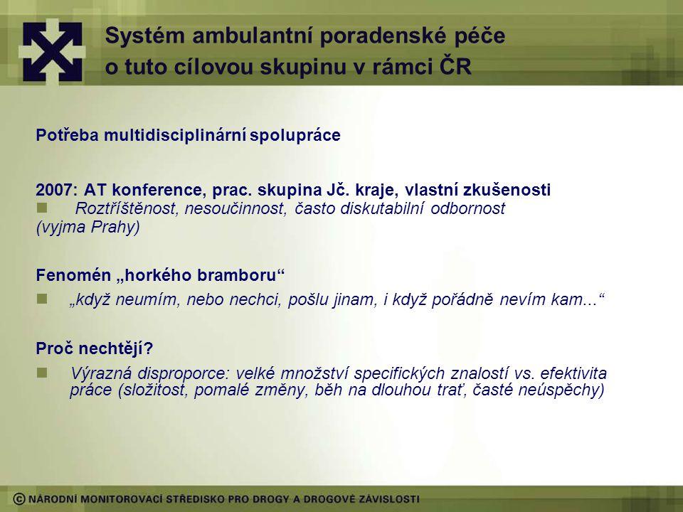 Systém ambulantní poradenské péče o tuto cílovou skupinu v rámci ČR Potřeba multidisciplinární spolupráce 2007: AT konference, prac.