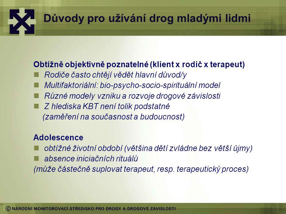 Důvody pro užívání drog mladými lidmi Obtížně objektivně poznatelné (klient x rodič x terapeut) Rodiče často chtějí vědět hlavní důvod/y Multifaktoriální: bio-psycho-socio-spirituální model Různé modely vzniku a rozvoje drogové závislosti Z hlediska KBT není tolik podstatné (zaměření na současnost a budoucnost) Adolescence obtížné životní období (většina dětí zvládne bez větší újmy) absence iniciačních rituálů (může částečně suplovat terapeut, resp.
