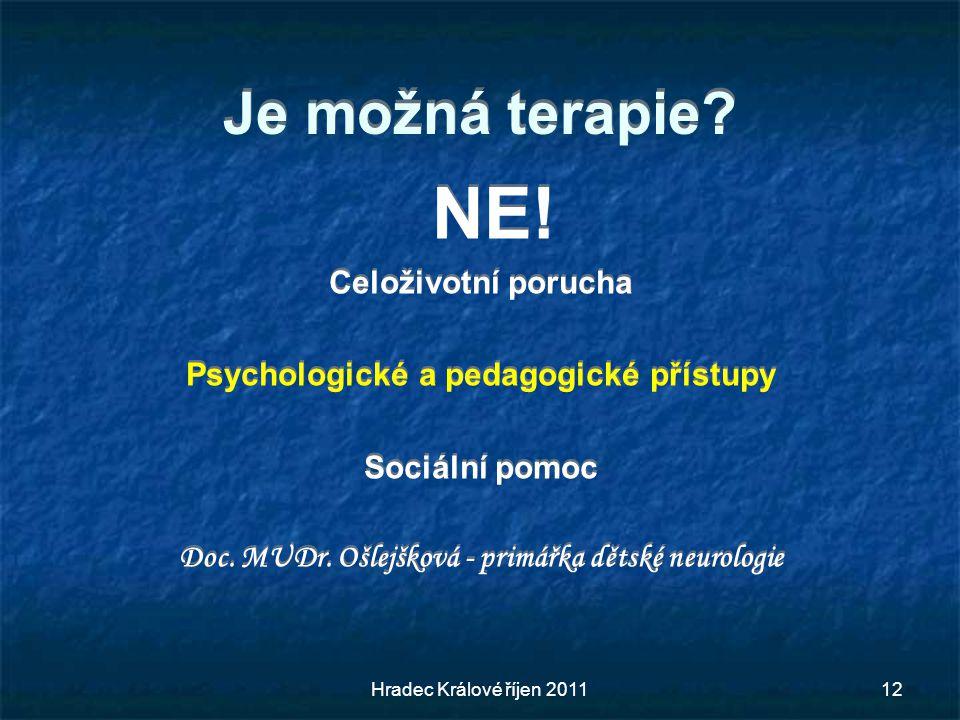 Je možná terapie? NE! Celoživotní porucha Psychologické a pedagogické přístupy Sociální pomoc Doc. MUDr. Ošlejšková - primářka dětské neurologie NE! C