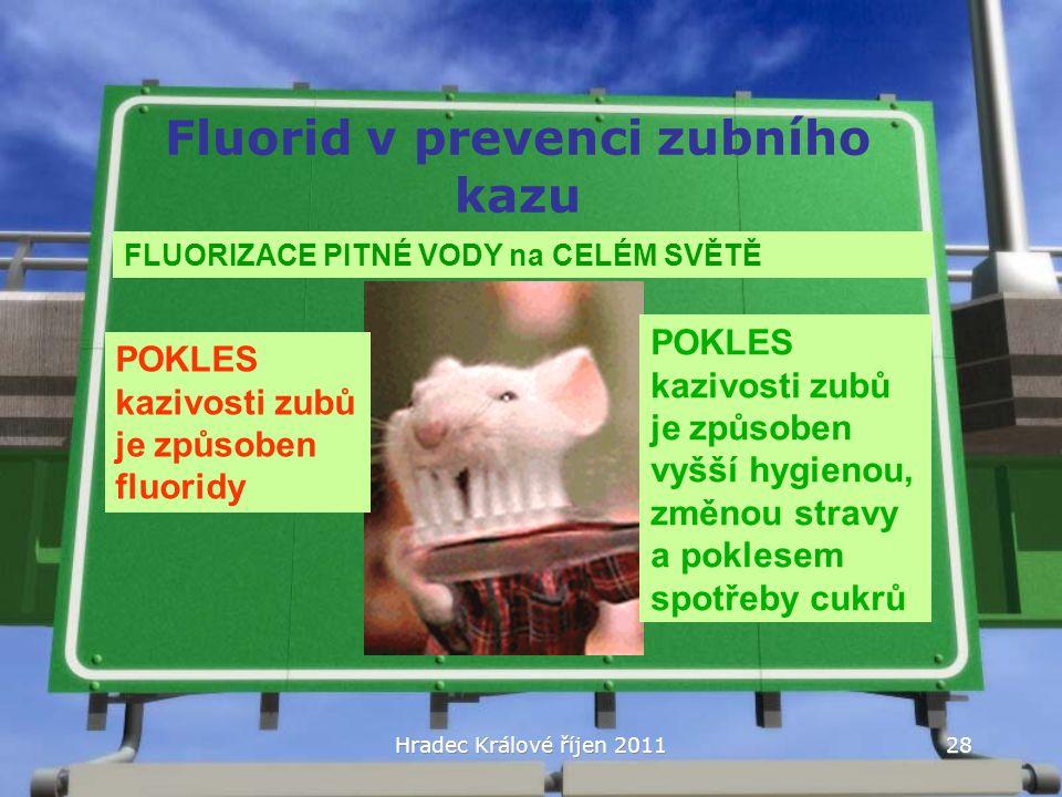 Hradec Králové říjen 2011 Fluorid v prevenci zubního kazu FLUORIZACE PITNÉ VODY na CELÉM SVĚTĚ POKLES kazivosti zubů je způsoben fluoridy POKLES kaziv