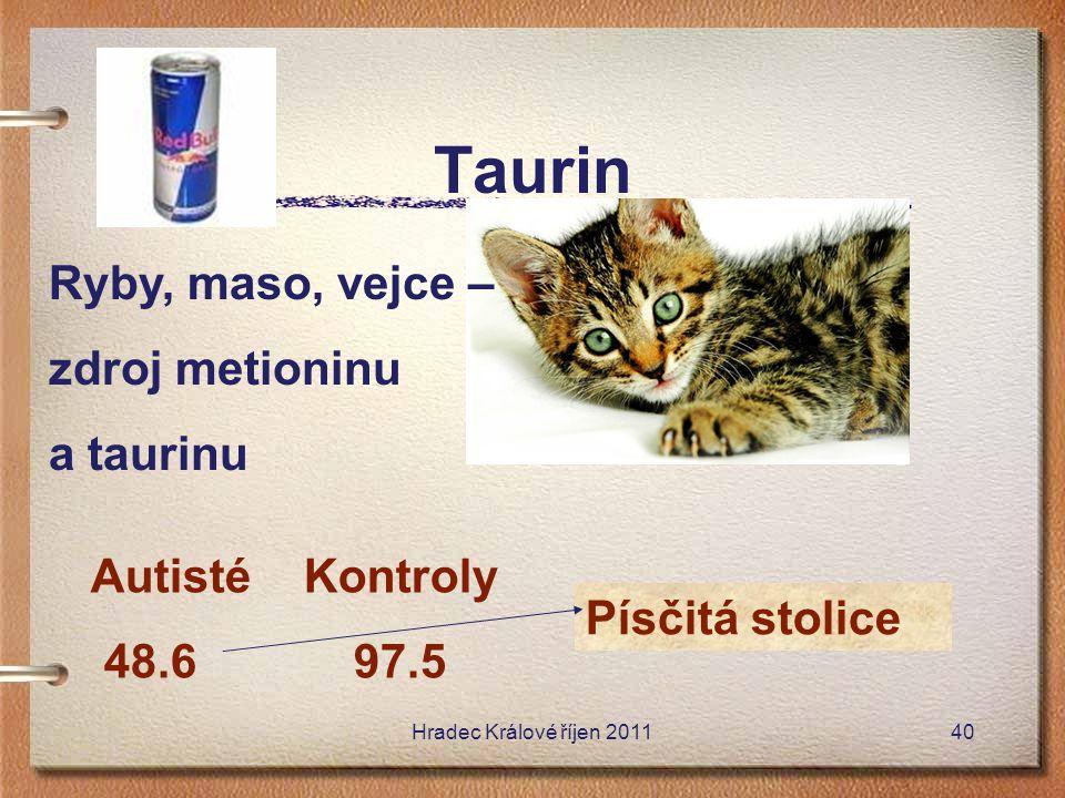 Taurin Písčitá stolice Autisté Kontroly 48.6 97.5 Ryby, maso, vejce – zdroj metioninu a taurinu Hradec Králové říjen 201140