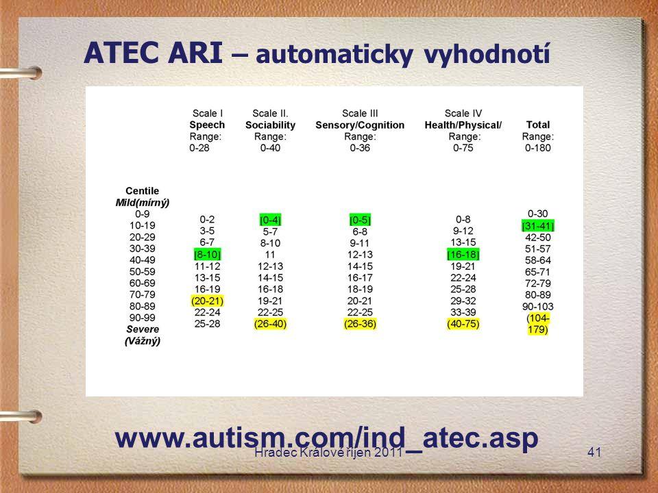 ATEC ARI – automaticky vyhodnotí www.autism.com/ind_atec.asp Hradec Králové říjen 201141