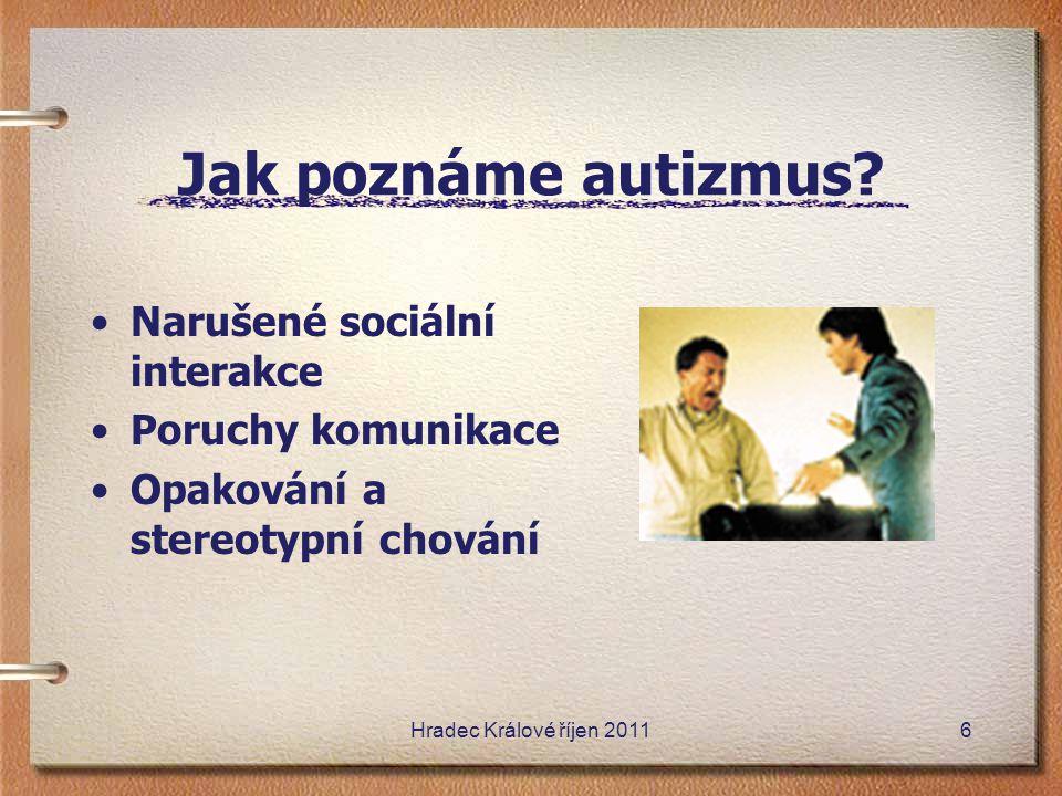 Jak poznáme autizmus? Narušené sociální interakce Poruchy komunikace Opakování a stereotypní chování Hradec Králové říjen 20116