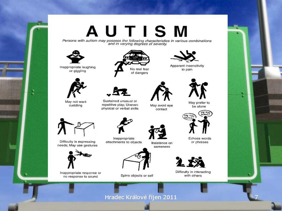 PAS: DSM-IV a MKN-10 Pervazivní vývojové poruchy F84.0: Dětský autizmus Autizmus s regresem Aspergerův syndrom Rettův syndrom PDD-NOS Hyperaktivní porucha sdružená s mentální retardací Hradec Králové říjen 20118