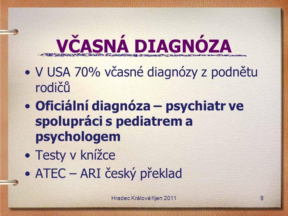 VČASNÁ DIAGNÓZA V USA 70% včasné diagnózy z podnětu rodičů Oficiální diagnóza – psychiatr ve spolupráci s pediatrem a psychologem Testy v knížce ATEC