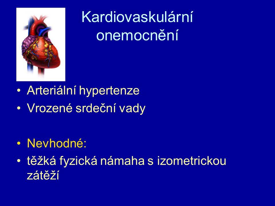 Kardiovaskulární onemocnění Arteriální hypertenze Vrozené srdeční vady Nevhodné: těžká fyzická námaha s izometrickou zátěží