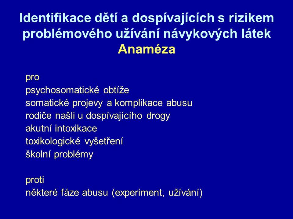 Identifikace dětí a dospívajících s rizikem problémového užívání návykových látek Anaméza pro psychosomatické obtíže somatické projevy a komplikace abusu rodiče našli u dospívajícího drogy akutní intoxikace toxikologické vyšetření školní problémy proti některé fáze abusu (experiment, užívání)