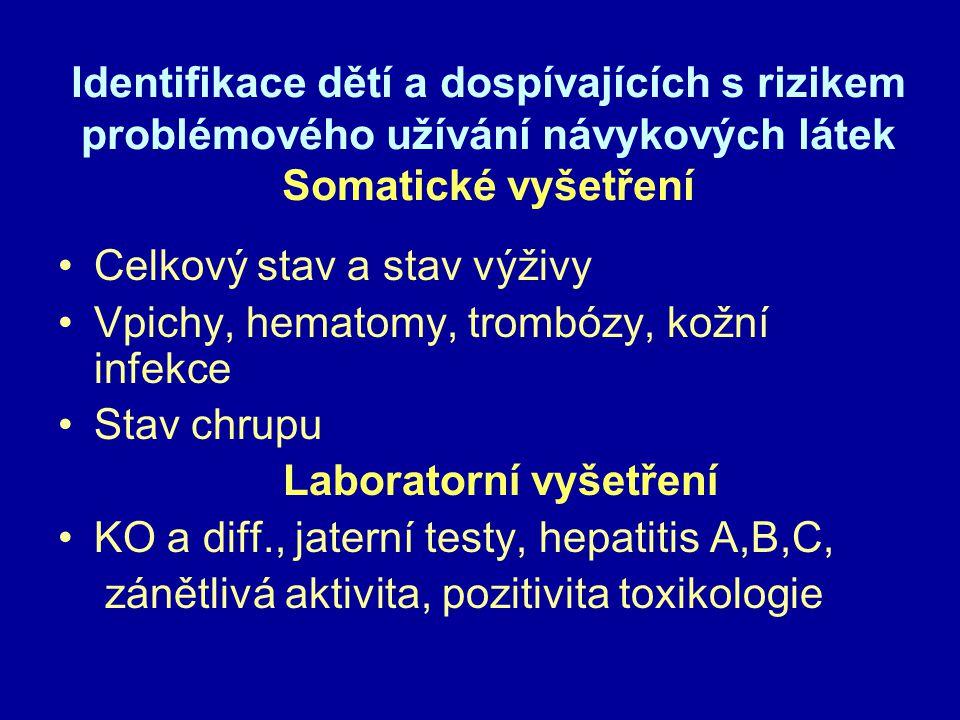 Identifikace dětí a dospívajících s rizikem problémového užívání návykových látek Somatické vyšetření Celkový stav a stav výživy Vpichy, hematomy, trombózy, kožní infekce Stav chrupu Laboratorní vyšetření KO a diff., jaterní testy, hepatitis A,B,C, zánětlivá aktivita, pozitivita toxikologie