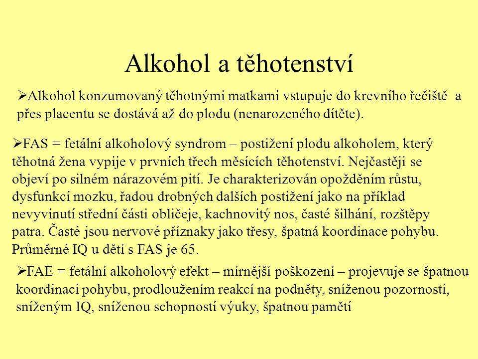 Alkohol a těhotenství  Alkohol konzumovaný těhotnými matkami vstupuje do krevního řečiště a přes placentu se dostává až do plodu (nenarozeného dítěte).