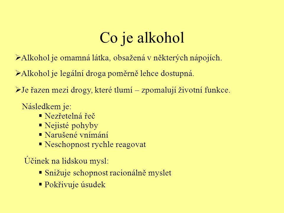 Co je alkohol  Alkohol je legální droga poměrně lehce dostupná.