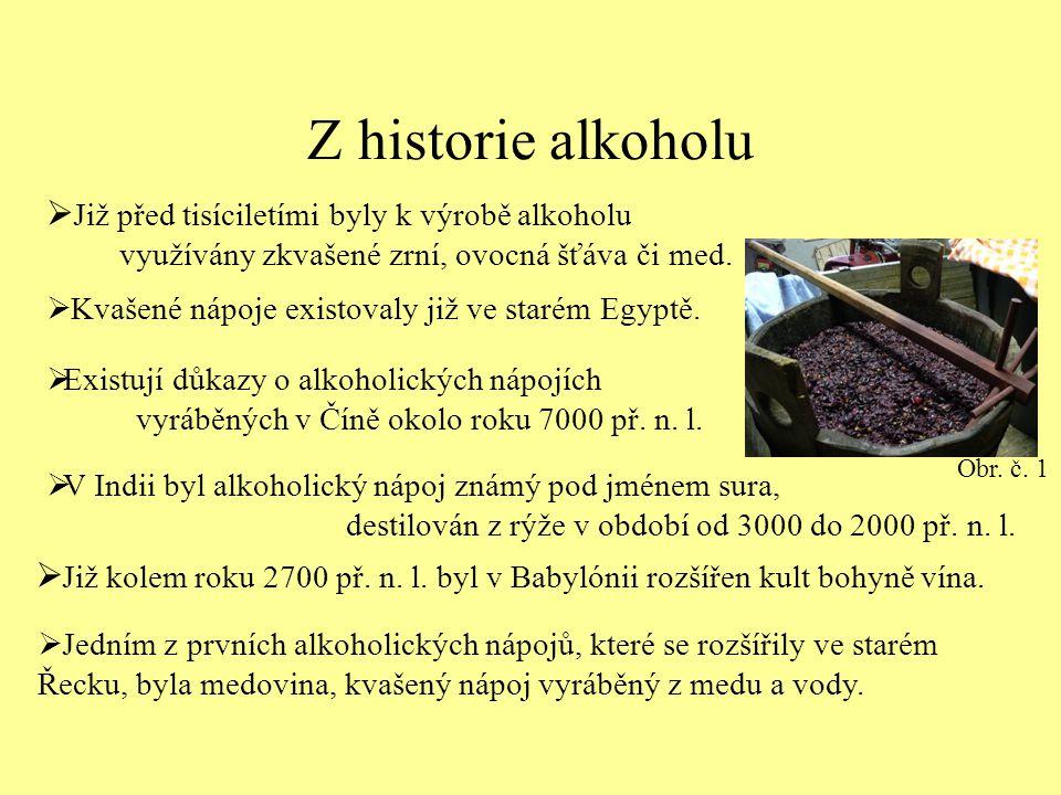 Z historie alkoholu  Již před tisíciletími byly k výrobě alkoholu využívány zkvašené zrní, ovocná šťáva či med.