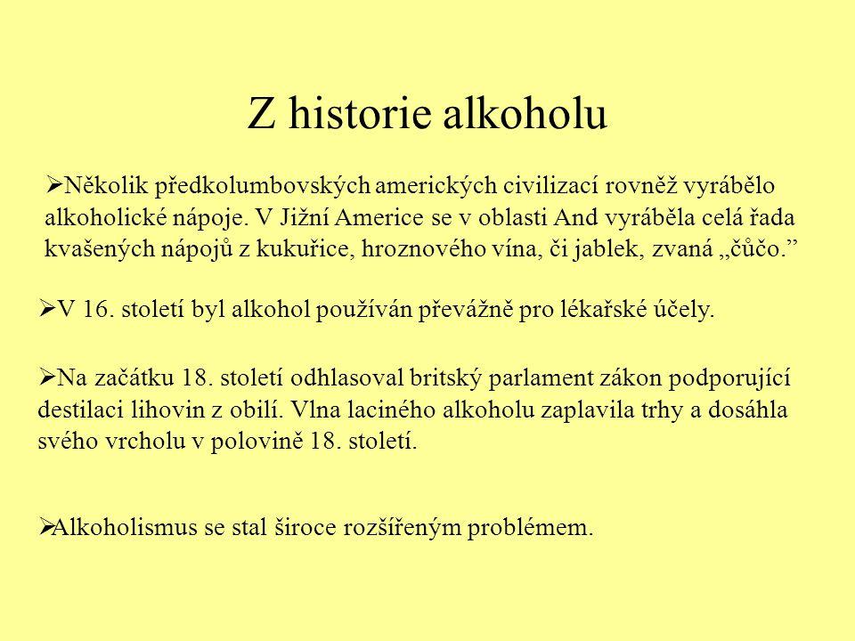 Z historie alkoholu  Několik předkolumbovských amerických civilizací rovněž vyrábělo alkoholické nápoje.