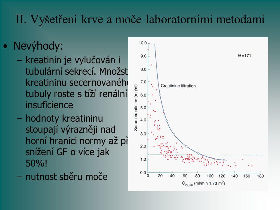 II. Vyšetření krve a moče laboratorními metodami Nevýhody: –kreatinin je vylučován i tubulární sekrecí. Množství kreatininu secernovaného tubuly roste