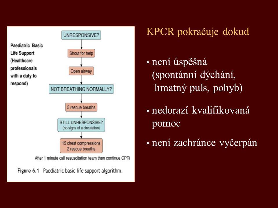 není úspěšná (spontánní dýchání, hmatný puls, pohyb) KPCR pokračuje dokud nedorazí kvalifikovaná pomoc není zachránce vyčerpán
