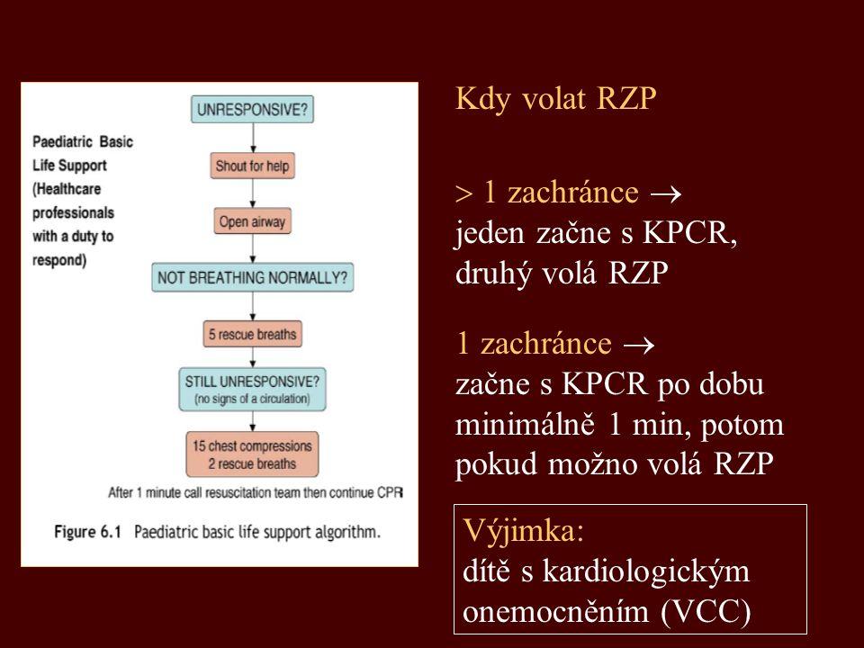  1 zachránce  jeden začne s KPCR, druhý volá RZP Kdy volat RZP 1 zachránce  začne s KPCR po dobu minimálně 1 min, potom pokud možno volá RZP Výjimk