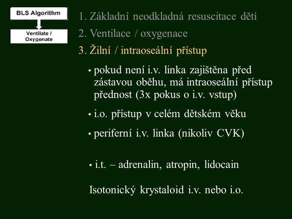 3. Žilní / intraoseální přístup pokud není i.v. linka zajištěna před zástavou oběhu, má intraoseální přístup přednost (3x pokus o i.v. vstup) 1. Zákla