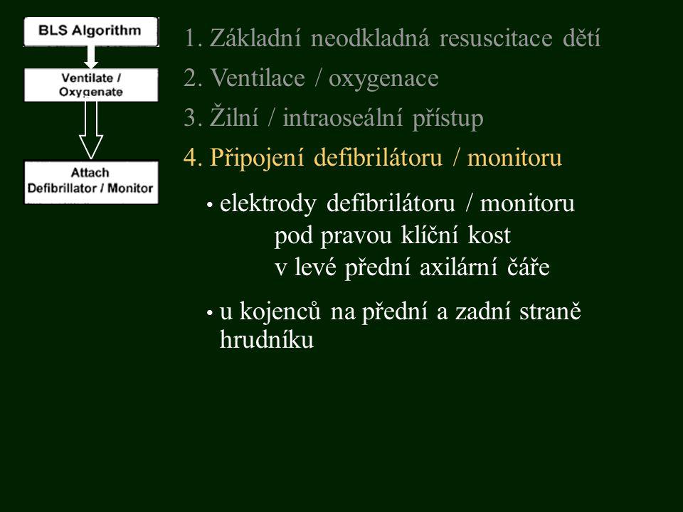 elektrody defibrilátoru / monitoru pod pravou klíční kost v levé přední axilární čáře 3. Žilní / intraoseální přístup 1. Základní neodkladná resuscita