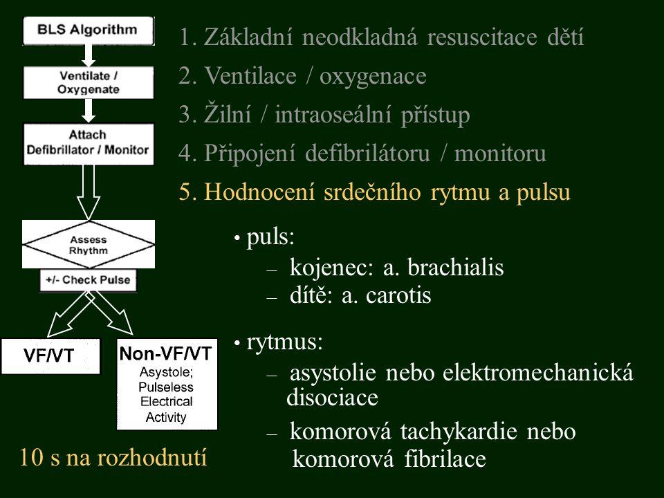 puls: – kojenec: a. brachialis – dítě: a. carotis rytmus: – asystolie nebo elektromechanická disociace 5. Hodnocení srdečního rytmu a pulsu 3. Žilní /