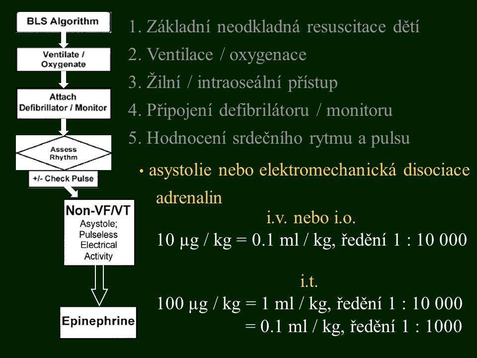 asystolie nebo elektromechanická disociace adrenalin 5. Hodnocení srdečního rytmu a pulsu 3. Žilní / intraoseální přístup 1. Základní neodkladná resus