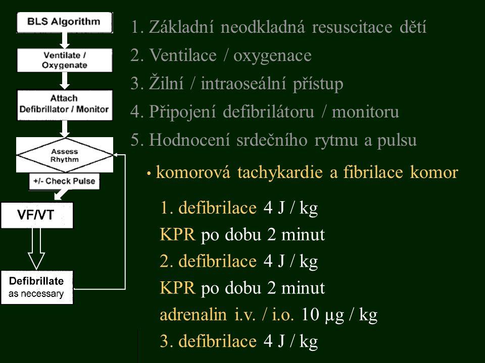 komorová tachykardie a fibrilace komor 1. defibrilace 4 J / kg 5. Hodnocení srdečního rytmu a pulsu 3. Žilní / intraoseální přístup 1. Základní neodkl