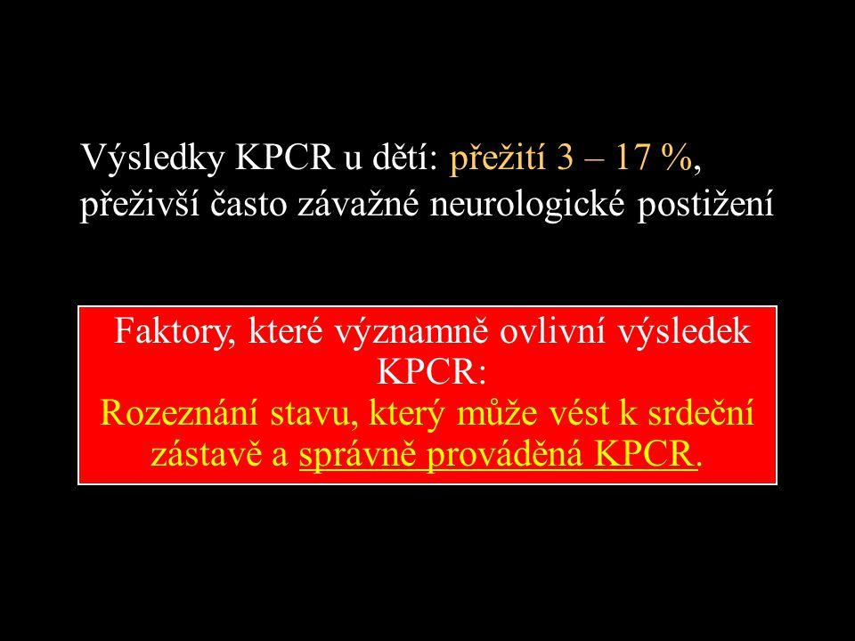 Rozeznání stavu, který může vést k srdeční zástavě a správně prováděná KPCR. Výsledky KPCR u dětí: přežití 3 – 17 %, přeživší často závažné neurologic