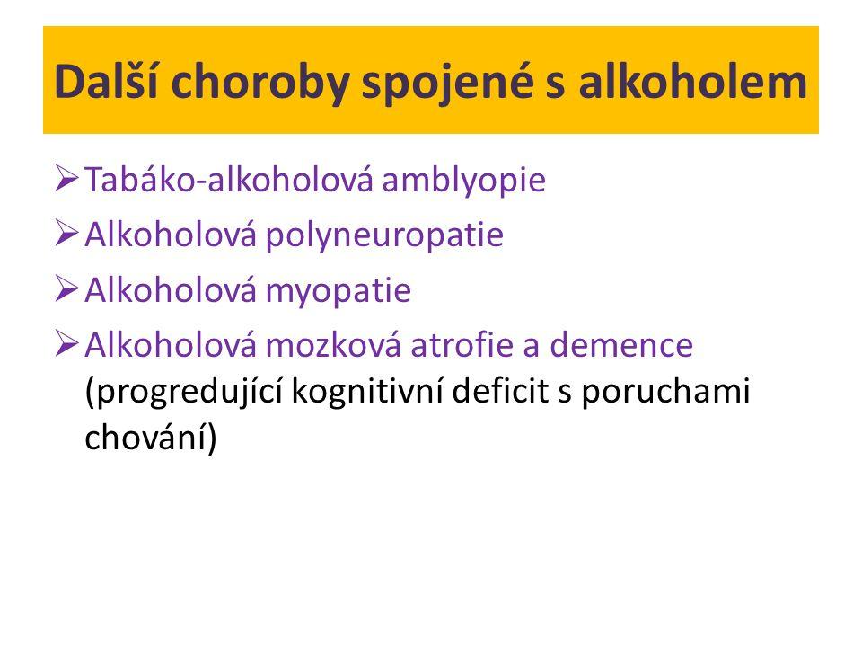 Další choroby spojené s alkoholem  Tabáko-alkoholová amblyopie  Alkoholová polyneuropatie  Alkoholová myopatie  Alkoholová mozková atrofie a demen