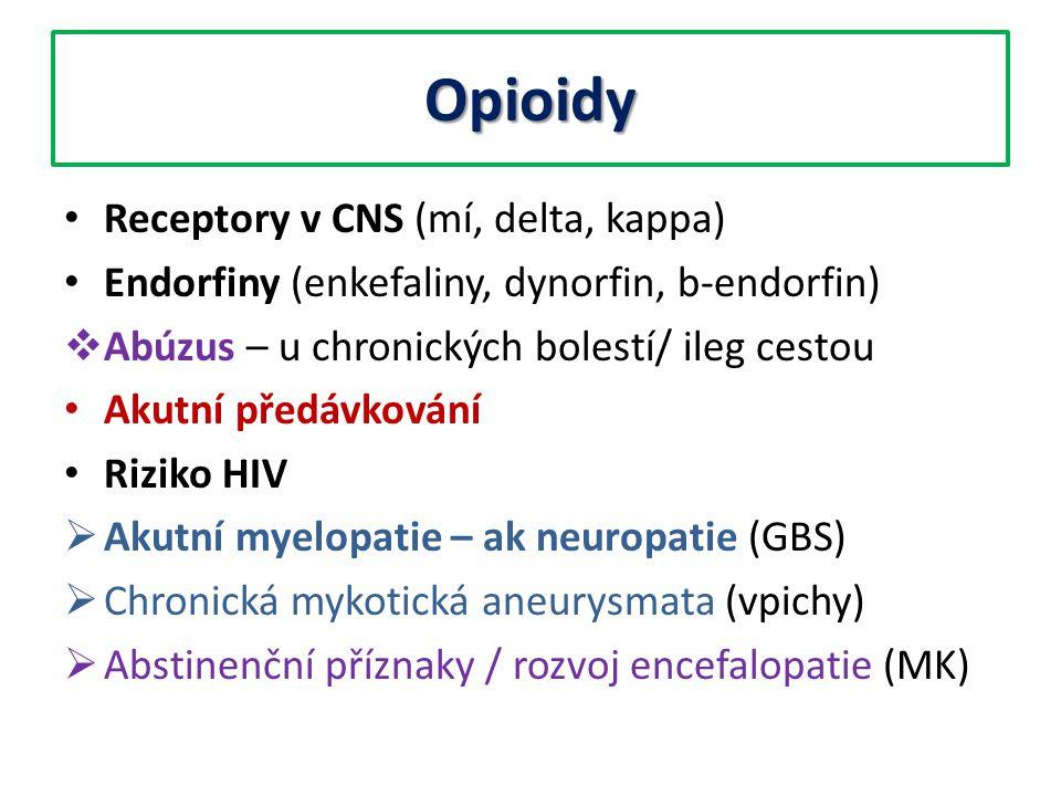Opioidy Receptory v CNS (mí, delta, kappa) Endorfiny (enkefaliny, dynorfin, b-endorfin)  Abúzus – u chronických bolestí/ ileg cestou Akutní předávkov