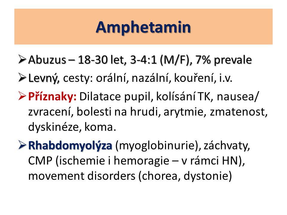 Amphetamin  Abuzus – 18-30 let, 3-4:1 (M/F), 7% prevale  Levný,  Levný, cesty: orální, nazální, kouření, i.v.  Příznaky: Dilatace pupil, kolísání