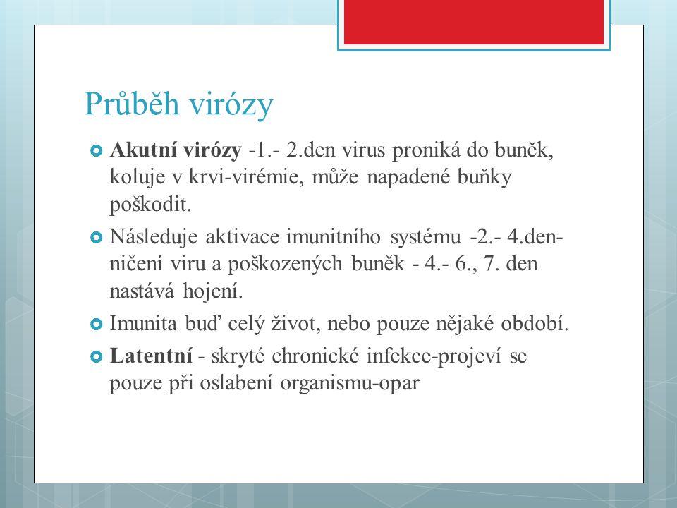 Průběh virózy  Akutní virózy -1.- 2.den virus proniká do buněk, koluje v krvi-virémie, může napadené buňky poškodit.  Následuje aktivace imunitního