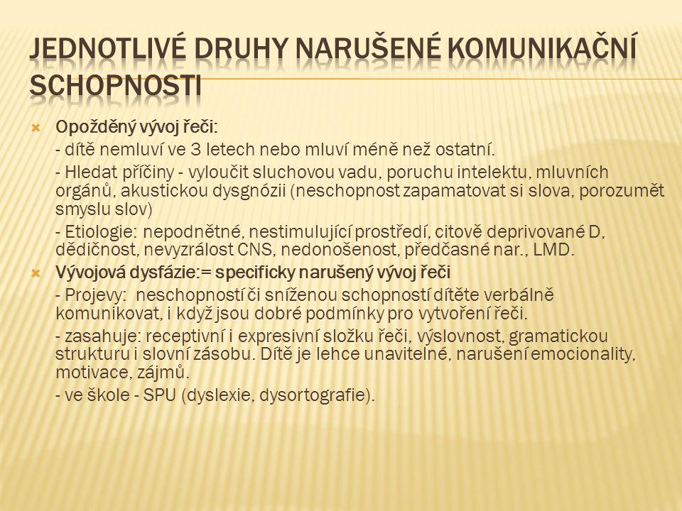  Afázie: - centrální porucha řeči při orgánovém poškození CNS, na základě lokálních poškození mozku.