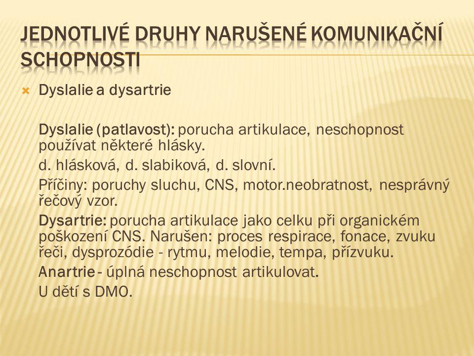 Dyslalie a dysartrie Dyslalie (patlavost): porucha artikulace, neschopnost používat některé hlásky. d. hlásková, d. slabiková, d. slovní. Příčiny: p